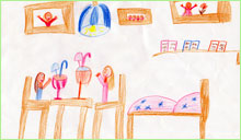 Mateřská škola děti kreslí